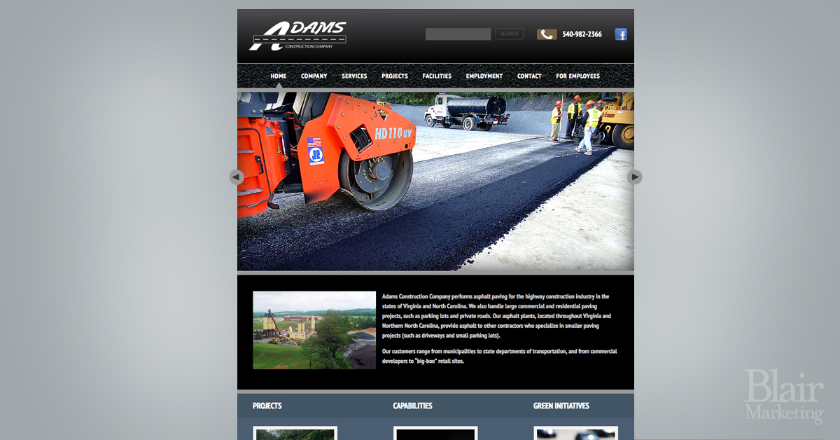 Adams Construction Website