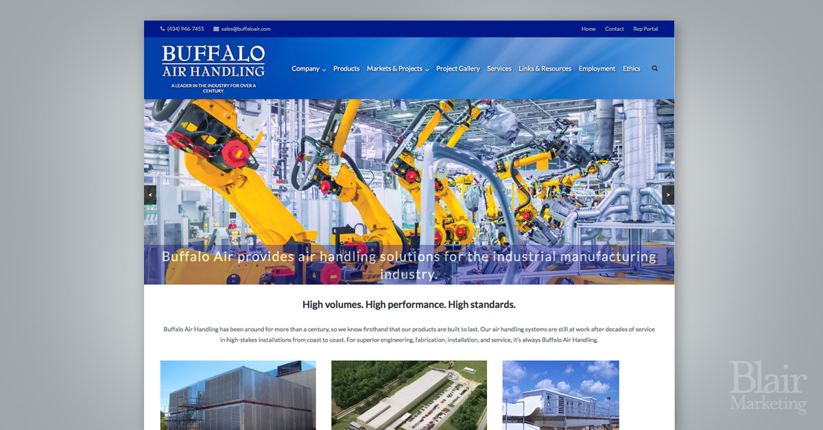 Buffalo Air Handling Website Example