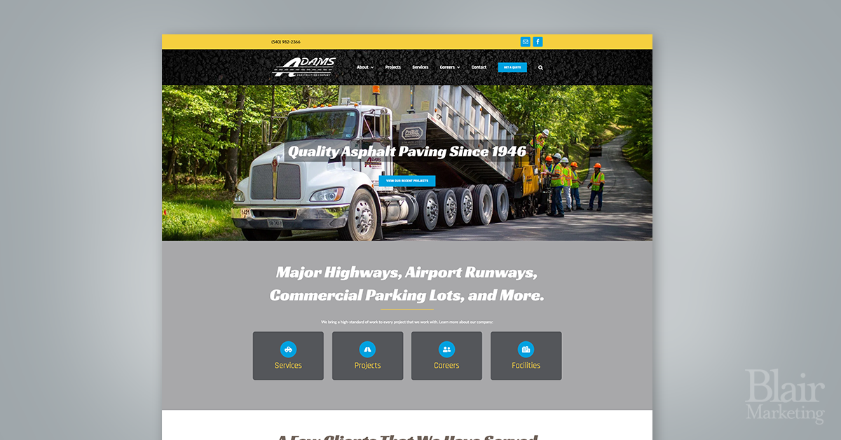 Adams Construction Website homepage