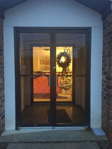 Blair Marketing's front door during the holidays